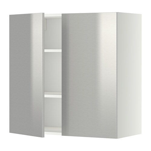 metod wandschrank mit b den und 2 t ren grevsta edelstahl 80x80 cm ikea. Black Bedroom Furniture Sets. Home Design Ideas