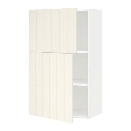 metod wandschrank mit b den und 2 t ren hittarp elfenbeinwei ikea. Black Bedroom Furniture Sets. Home Design Ideas