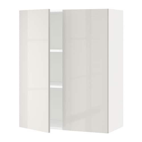 metod wandschrank mit b den und 2 t ren ringhult hochglanz hellgrau 80x100 cm ikea. Black Bedroom Furniture Sets. Home Design Ideas