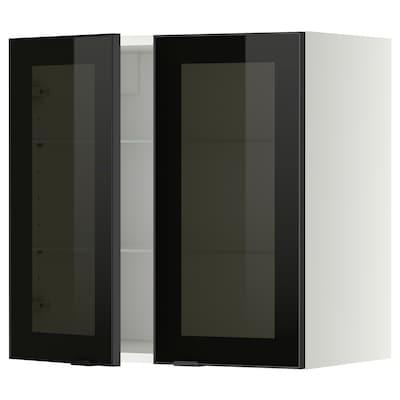 METOD Wandschrank mit Böden/2 Glastüren, weiß/Jutis Rauchglas, 60x60 cm