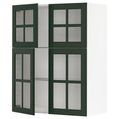 METOD Wandschrank mit Böden/4 Glastüren, weiß/Bodbyn dunkelgrün, 80x100 cm