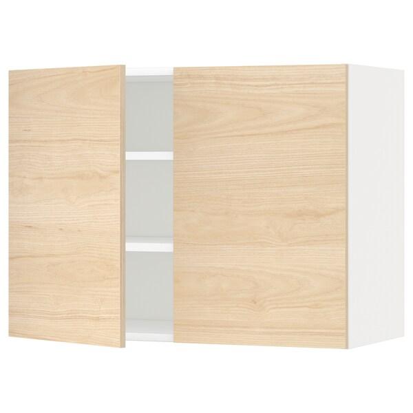 METOD Wandschrank mit Böden und 2 Türen, weiß/Askersund Eschenachbildung hell, 80x60 cm
