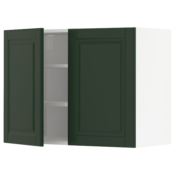 METOD Wandschrank mit Böden und 2 Türen, weiß/Bodbyn dunkelgrün, 80x60 cm