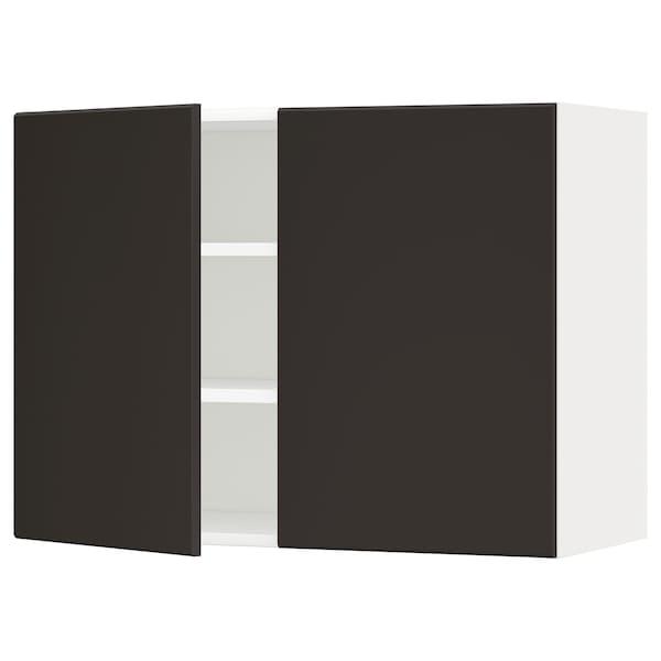 METOD Wandschrank mit Böden und 2 Türen, weiß/Kungsbacka anthrazit, 80x60 cm