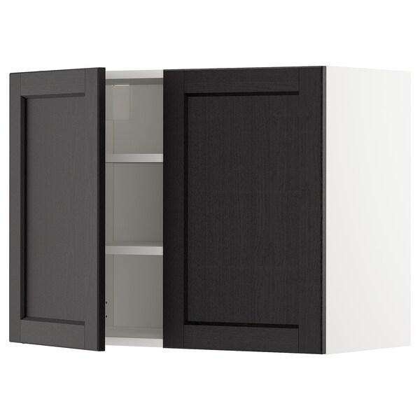 METOD Wandschrank mit Böden und 2 Türen, weiß/Lerhyttan schwarz lasiert, 80x60 cm