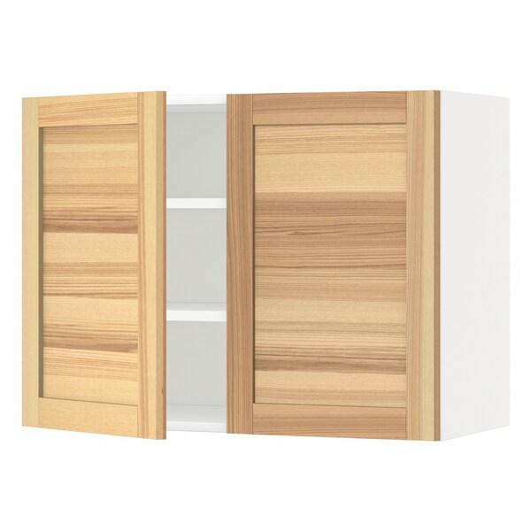 METOD Wandschrank mit Böden und 2 Türen, weiß/Torhamn Esche, 80x60 cm