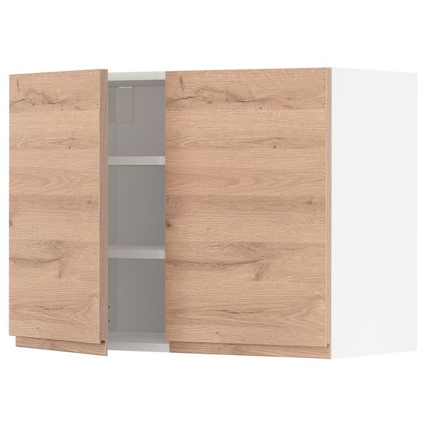 METOD Wandschrank mit Böden und 2 Türen, weiß/Voxtorp Eichenachbildung, 80x60 cm