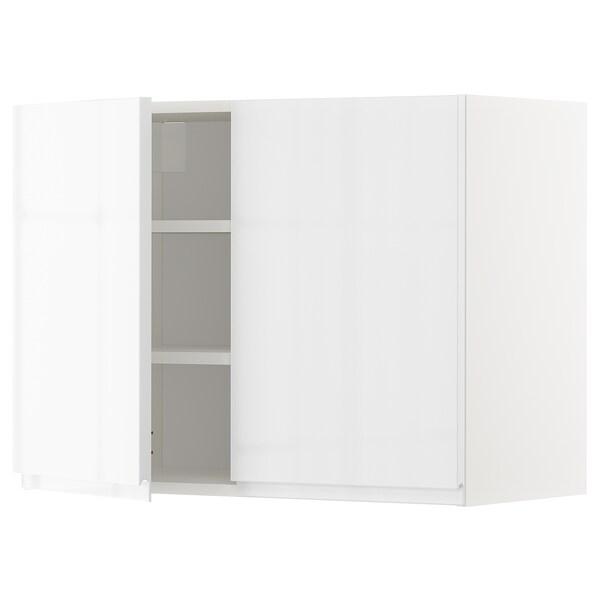 METOD Wandschrank mit Böden und 2 Türen, weiß/Voxtorp Hochglanz/weiß, 80x60 cm