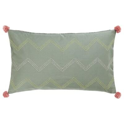 MOAKAJSA Kissenbezug Handarbeit grün/rosa 65 cm 40 cm