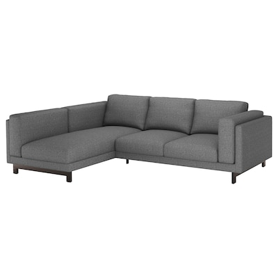 NOCKEBY 3er-Sofa, mit Récamiere links/Lejde dunkelgrau/Holz