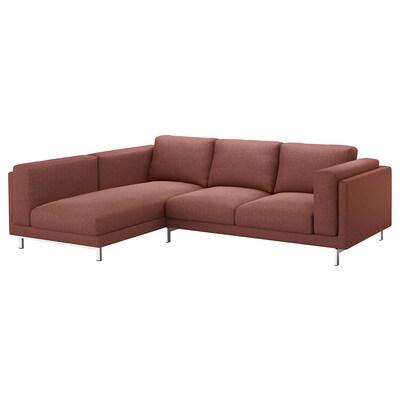 NOCKEBY 3er-Sofa, mit Récamiere links/Tallmyra rostbraun/verchromt