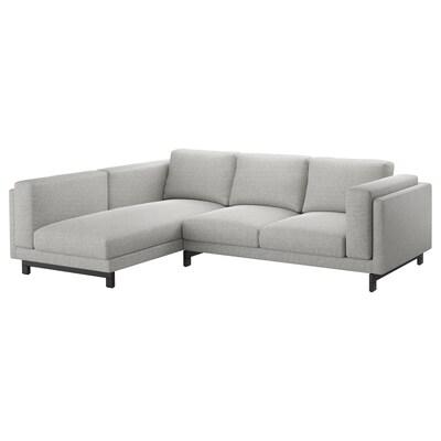 NOCKEBY 3er-Sofa, mit Récamiere links/Tallmyra weiß/schwarz/Holz