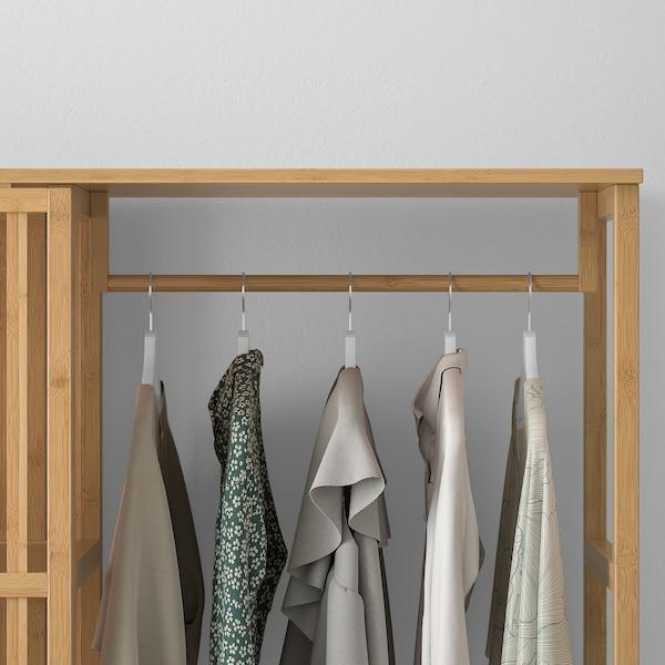 NORDKISA Kleiderschrank, offen/Schiebetür, Bambus, 120x186 cm