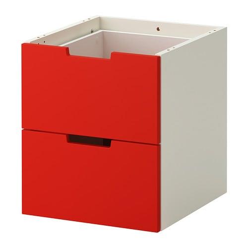nordli schubladenelement 2 schubl rot wei 40x45 cm ikea. Black Bedroom Furniture Sets. Home Design Ideas
