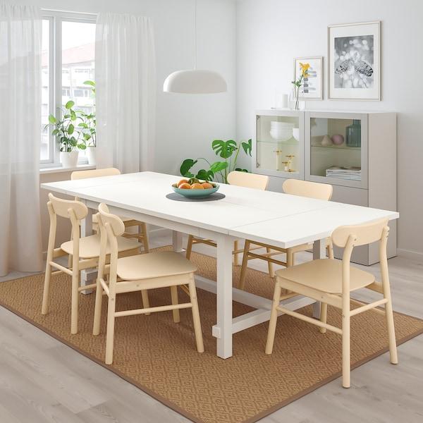 NORDVIKEN / RÖNNINGE Tisch und 4 Stühle weiß/Birke 152 cm 223 cm 95 cm