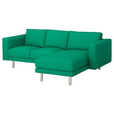 NORSBORG 3er-Sofa mit Récamiere/Edum leuchtend grün/Metall 231 cm 85 cm 88 cm 157 cm 129 cm 18 cm 60 cm 43 cm