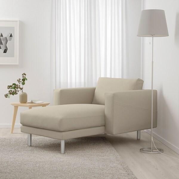 NORSBORG Récamiere Edum beige/Metall 110 cm 157 cm 85 cm 129 cm 43 cm