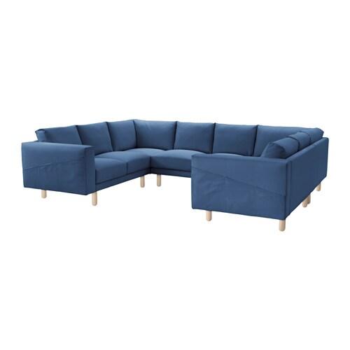 Norsborg 8er sofa u form edum dunkelblau birke ikea for Ecksofas u form