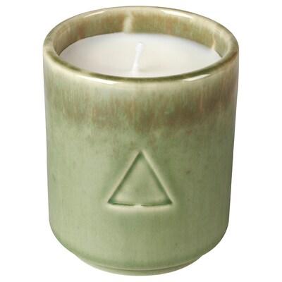 OSYNLIG Duftkerze im Behälter, Baumwoll- und Apfelblüte/grün braun, 7 cm