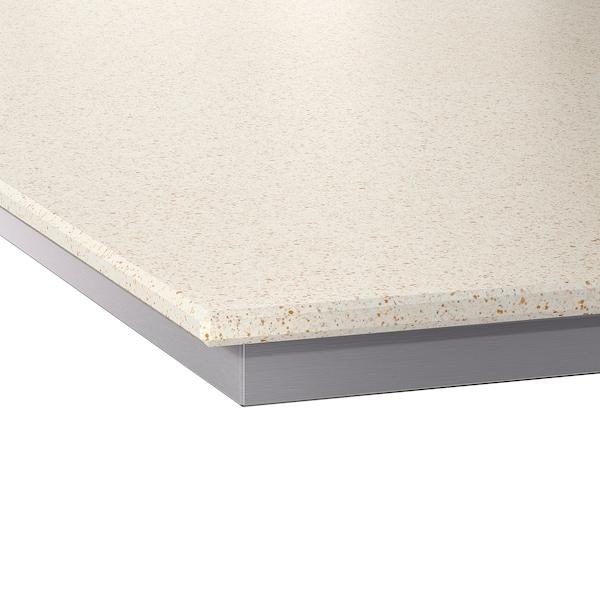 OXSTEN Maßarbeitsplatte, weiß Quarzmuster/Steinkomposit, 63.6-125x3.8 cm