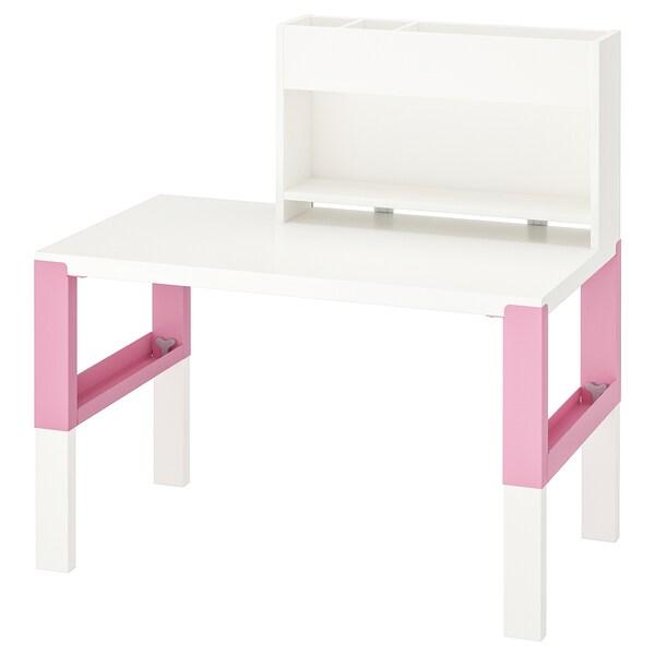 PÅHL Schreibtisch mit Aufsatz, weiß/rosa, 96x58 cm