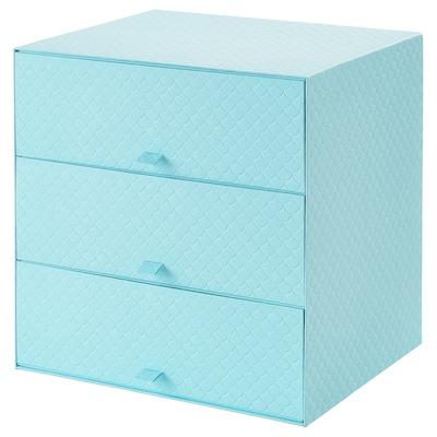PALLRA Minikommode mit 3 Schubladen, hellblau, 31x26x31 cm