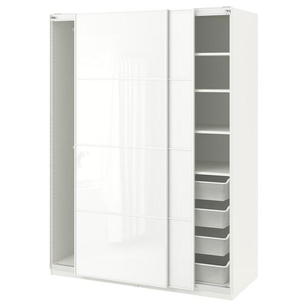 PAX Kleiderschrank, weiß/Färvik weißes Glas, 150x66x201 cm