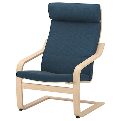 POÄNG Sessel, Eichenfurnier weiß lasiert/Hillared dunkelblau