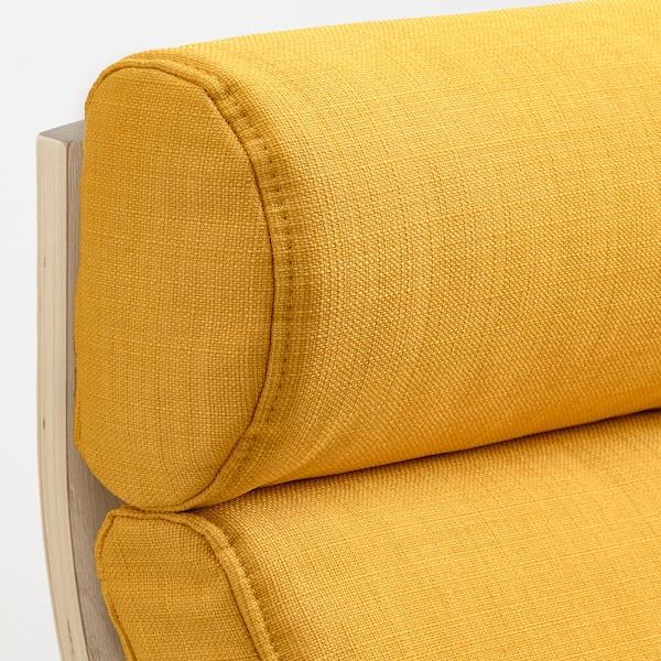 POÄNG Sessel, Eichenfurnier weiß lasiert/Skiftebo gelb