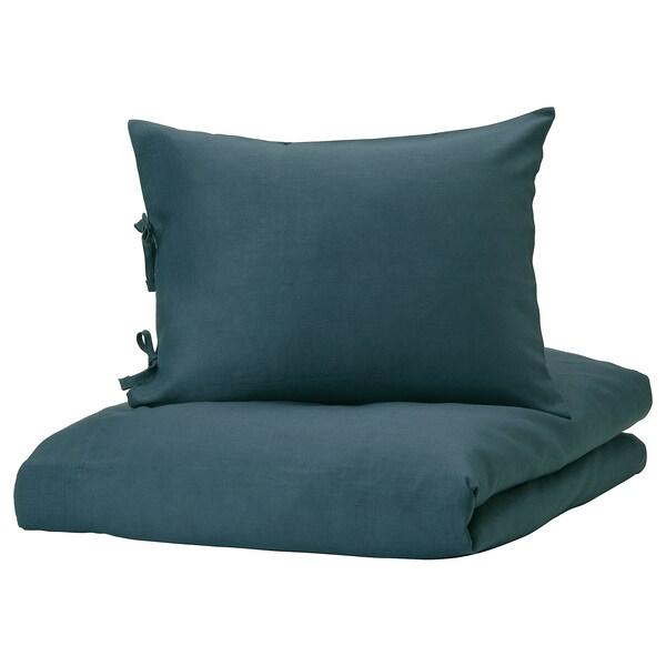 PUDERVIVA Bettwäsche-Set, 2-teilig, dunkelblau, 150x200/50x60 cm