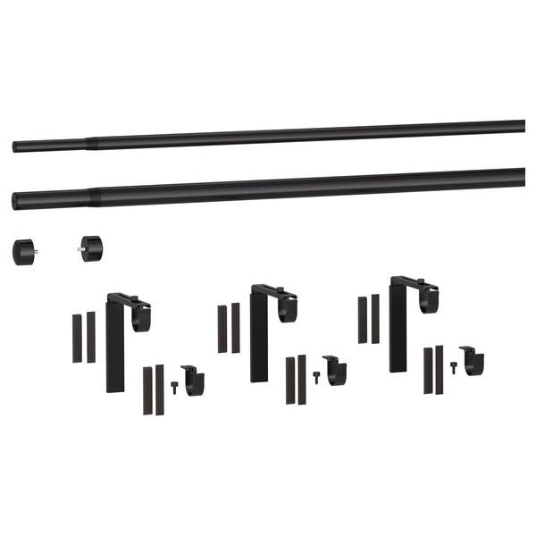 RÄCKA / HUGAD Gardinenstangenkomb. doppelt, schwarz, 120-210 cm