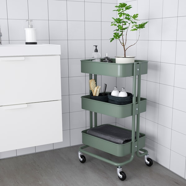 RÅSKOG Servierwagen, graugrün, 35x45x78 cm