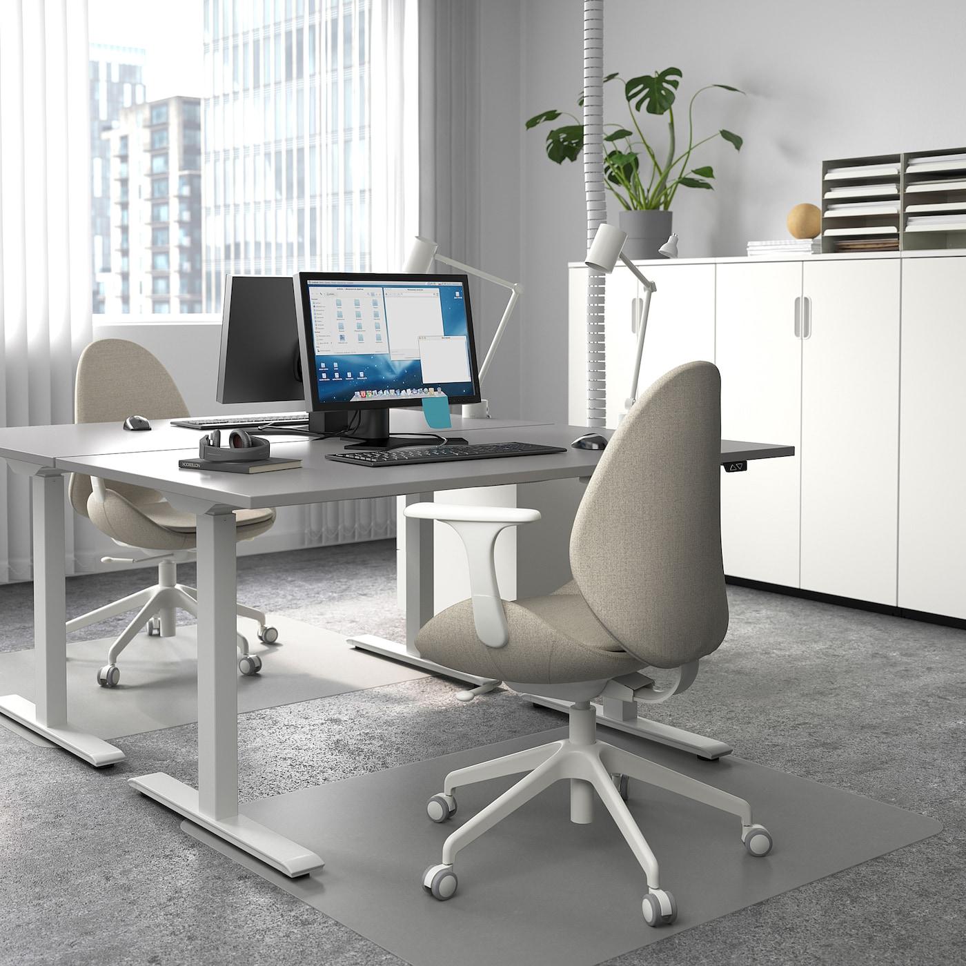 RODULF Schreibtisch sitz/steh, grau/weiß, 140x80 cm