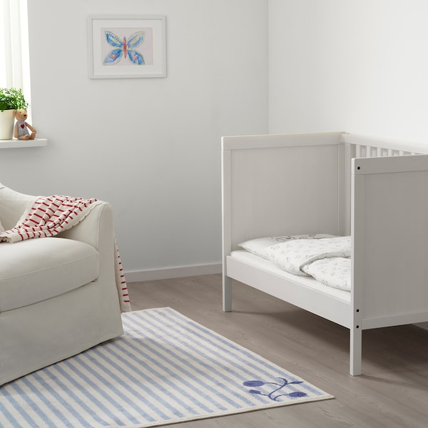 RÖDHAKE Babydecke, gestreift/weiß/rot, 80x100 cm