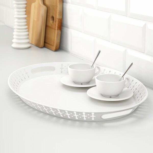 ROMANTISK Tablett, weiß, 52x39 cm