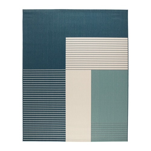Teppich flach gewebt, drinnen / draußen grünblau, grünblau 200x250 cm