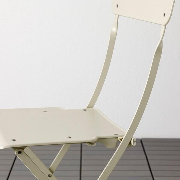 SALTHOLMEN Tisch+4 Klappstühle/außen beige/Kuddarna grau