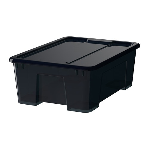 samla box mit deckel schwarz 39x28x14 cm 11 l ikea. Black Bedroom Furniture Sets. Home Design Ideas