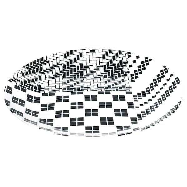 SAMMANKOPPLA Teller, weiß/schwarz, 25 cm