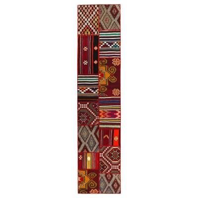 SILKEBORG Teppich flach gewebt, Handarbeit Mosaikmuster, 80x350 cm