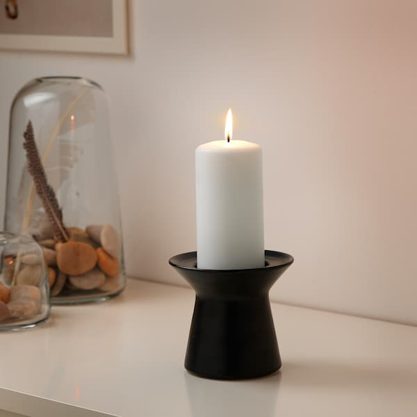 SINNESRO Kerzenständer für Blockkerze dunkelgrau 12 cm