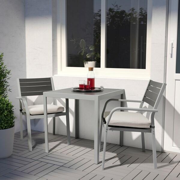 SJÄLLAND Tisch und 2 Armlehnstühle/außen, dunkelgrau/Frösön/Duvholmen beige, 71x71x73 cm
