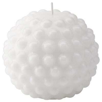 SKÅRAD Blockkerze duftneutral, rund/weiß, 9 cm