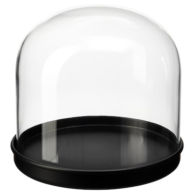 SKÖNJA Glasglocke mit Teller, Klarglas/schwarz, 16 cm
