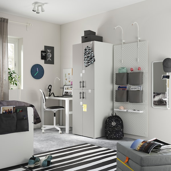 SMÅSTAD Kleiderschrank, weiß grau/mit 2 Kleiderstangen, 60x57x181 cm