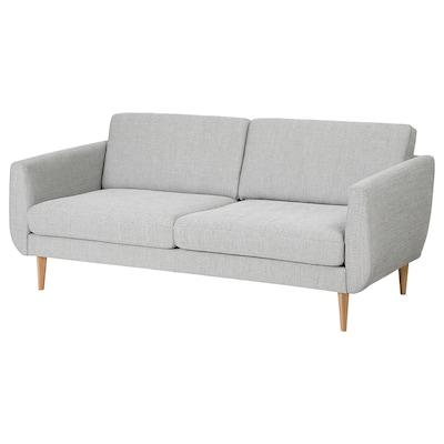 SMEDSTORP 3er-Sofa, Viarp beige/braun/Eiche