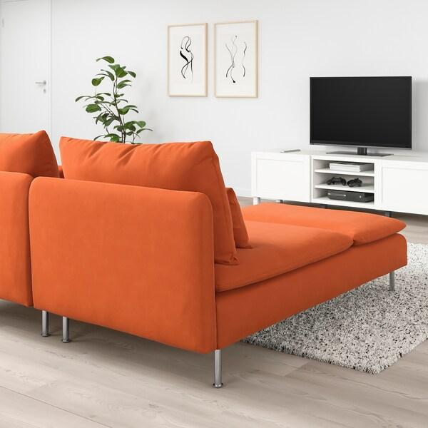 SÖDERHAMN 2er-Sofa mit Récamiere/Samsta orange 83 cm 69 cm 151 cm 186 cm 99 cm 122 cm 14 cm 70 cm 39 cm