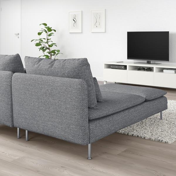 SÖDERHAMN 2er-Sofa, mit Récamiere/Lejde grau/schwarz