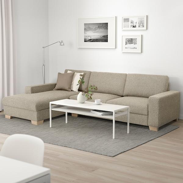 SÖRVALLEN 4er-Sofa, mit Récamiere links/Lejde dunkelbeige
