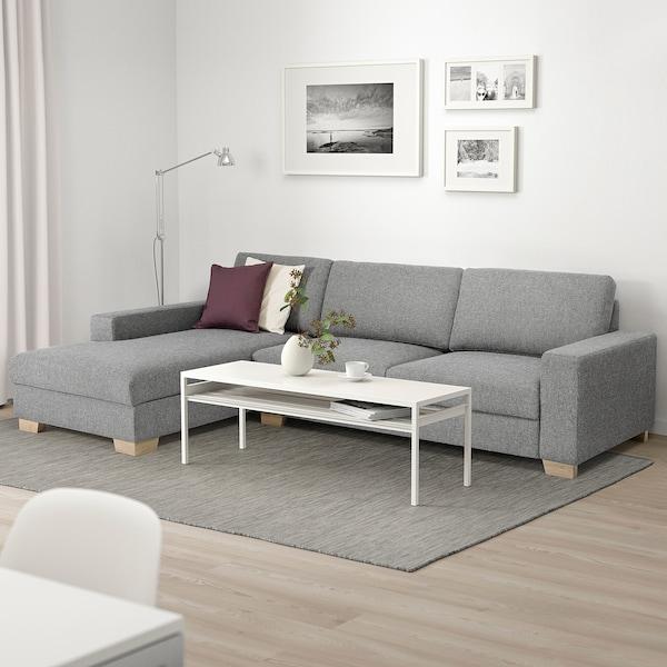 SÖRVALLEN 4er-Sofa, mit Récamiere links/Lejde grau/schwarz